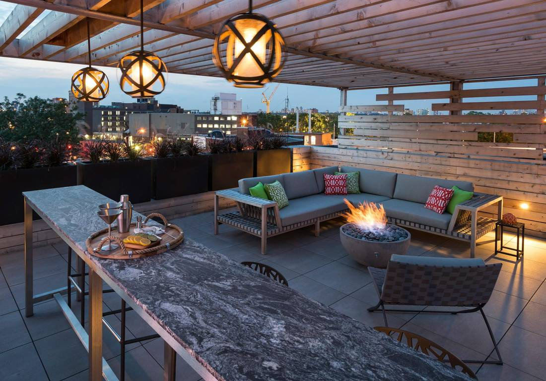 The unit comes with a 1,600-square-foot terrace that spans half the building's roof, providing extra living space.